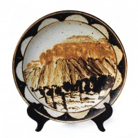<em>Mountain View,</em> decorated ceramic plate from Desert Series 1993-1994.